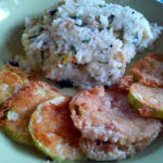 Riža s bukovačama i pohane zobene tikvice